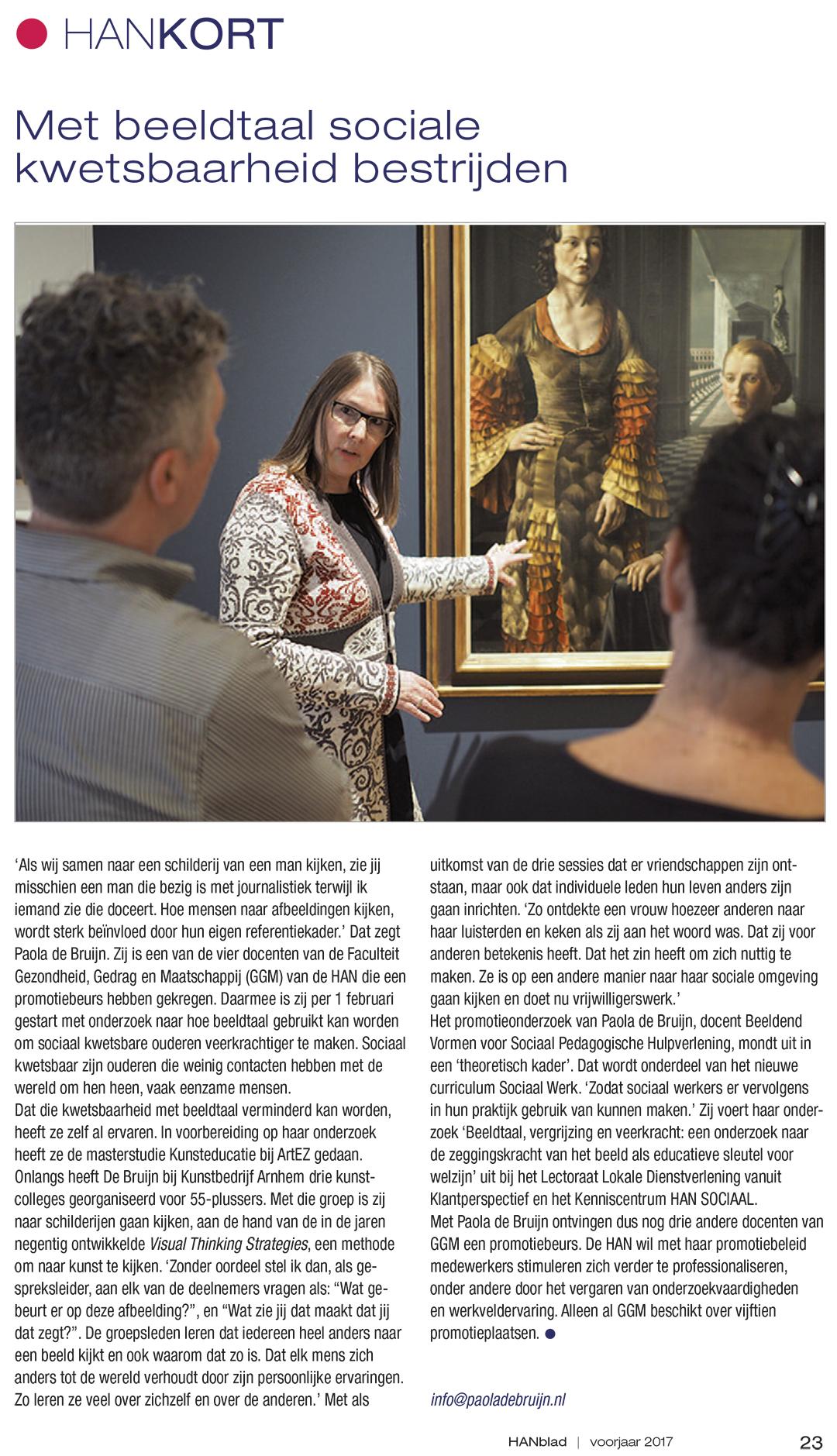 Promotie voor mijn promotieonderzoek || Met deze publicatie in HANblad, een platform voor de hogeschool en haar omgeving, is het verwerven van de promotiebeurs voor leraren publiek gemaakt!