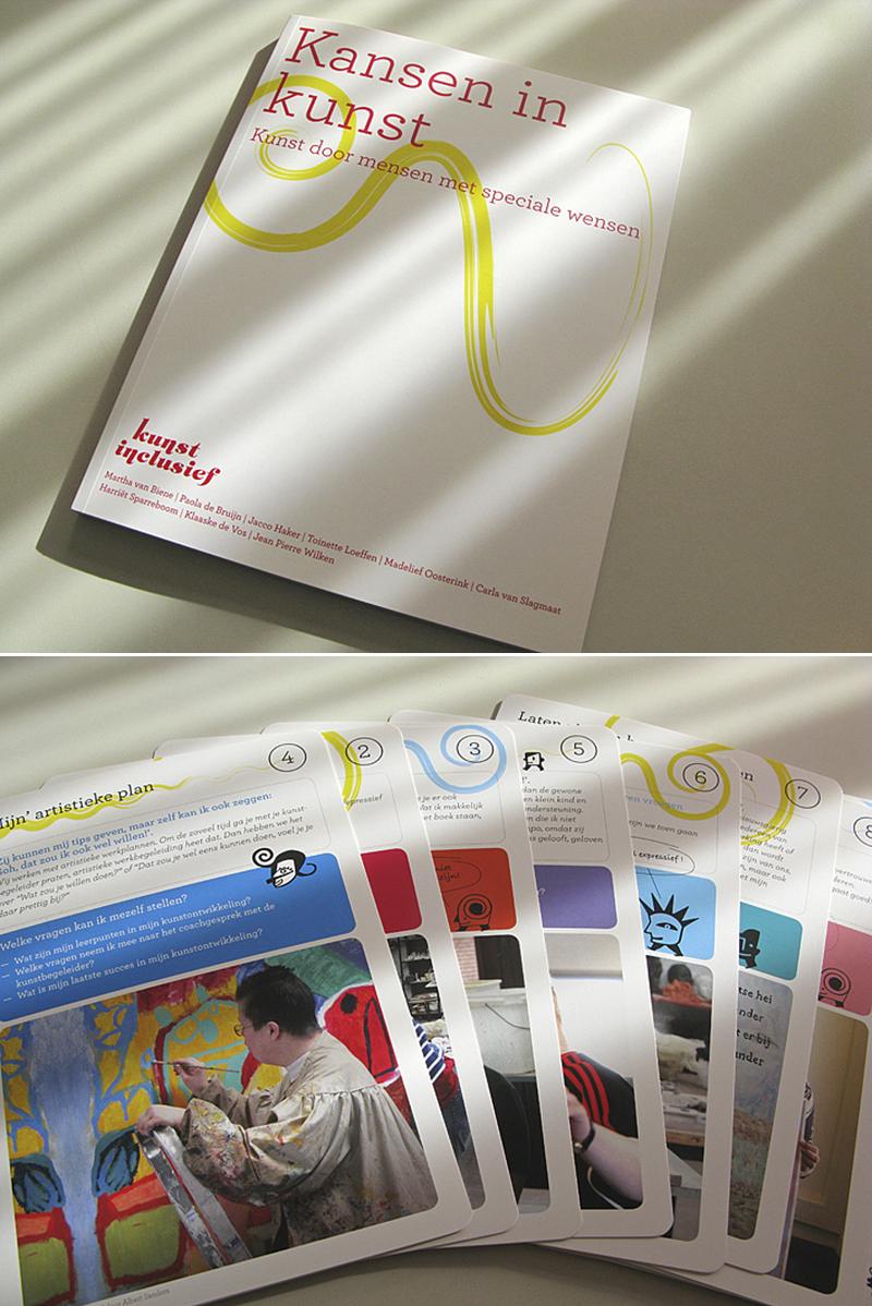 Publicatie Kunst Inclusief, onderzoekrapport, naar de kwaliteit van kunstbeoefening door mensen met een handicap, zowel in ateliers van zorginstellingen als in Centra voor de Kunsten, met bijdragen van pdb.