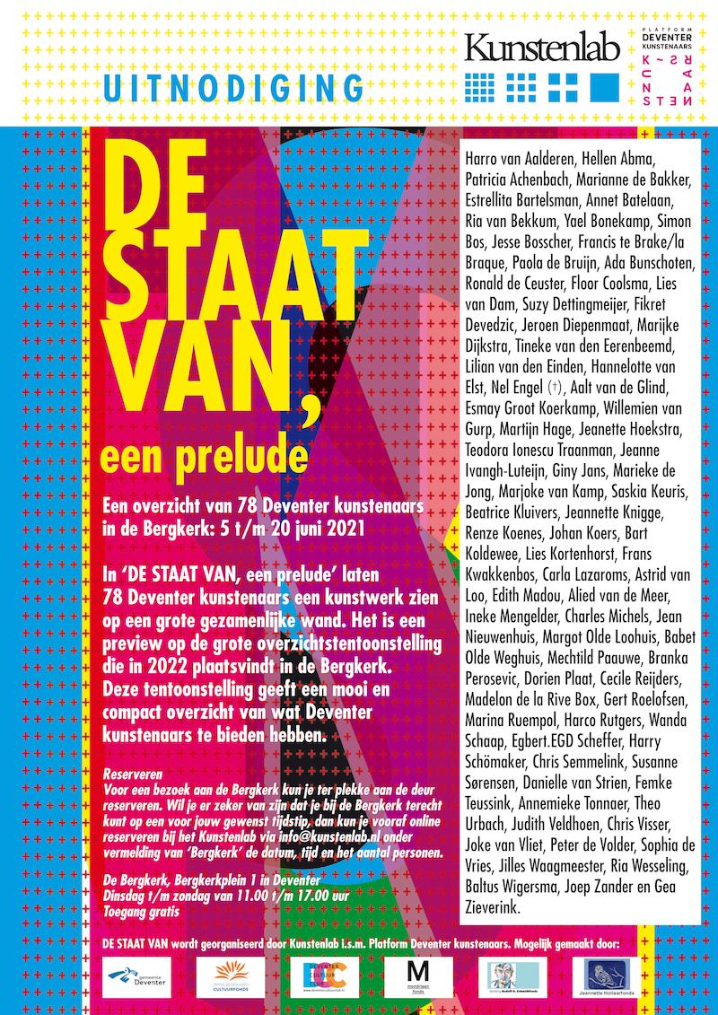 De Staat Van, een prelude – Kunstenlab / Bergkerk, Deventer – 26 mei 2021 tot en met 20 juni 2021 – Groepstentoonstelling